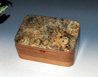 Wood Box with Tray - Handmade Wooden Box - Walnut and Buckeye Burl - Small Desk or Wood Stash Box - Jewelry Box by BurlWoodBox - Wooden Box