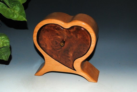 Wooden Heart Shaped Box of Redwood Burl on Cherry - Handmade Wood Box by BurlWoodBox