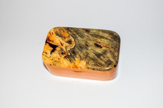 Wooden Trinket Box of Buckeye Burl on Cherry - Handmade Small Wood Box by BurlWoodBox - USA Made