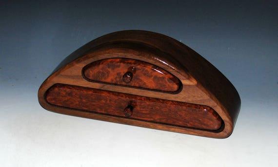 Handmade Wooden Jewelry Box Redwood Burl on Walnut Two Drawer, Small Wood Jewelry Box, Desk Box, Gift Box, Art Jewelry Box, Wood Jewelry Box