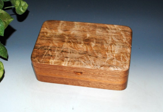 Wooden Stash Box of Spalted Quilted Maple and Mahogany - Handmade Box With Hinged Lid by BurlWoodBox - Excellent Unisex Gift !