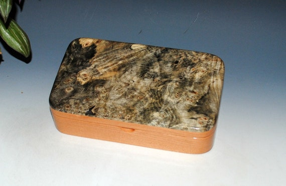Handmade Wood Box - Wooden Box - Buckeye Burl on Cherry - Jewelry Box, Wood Stash Box, Wooden Jewelry Box, Small Wooden Box, Treasure Box
