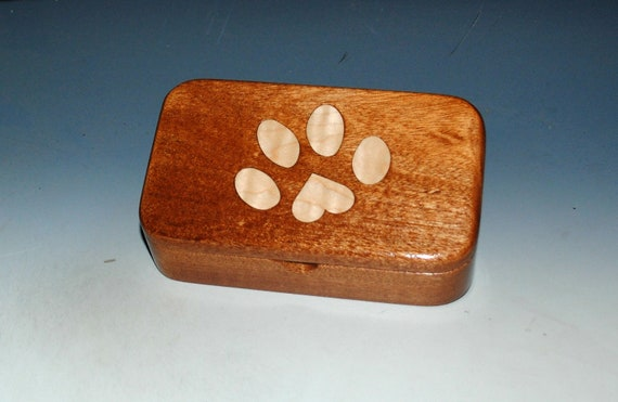 Wooden Box With Dog Paw Print Inlay of Curly Maple on Mahogany - Handmade Treasure Box Made in the USA by BurlWoodBox
