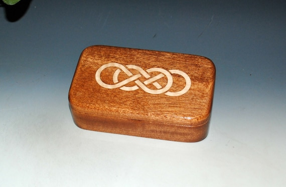 Wooden Box With Double Infinity Inlay of Curly Maple and Mahogany - Symbolic Wood Gift