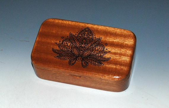 Lotus Flower Engraved Mahogany Wood Treasure Box - Handmade Wooden Box Made in the USA by BurlWoodbox