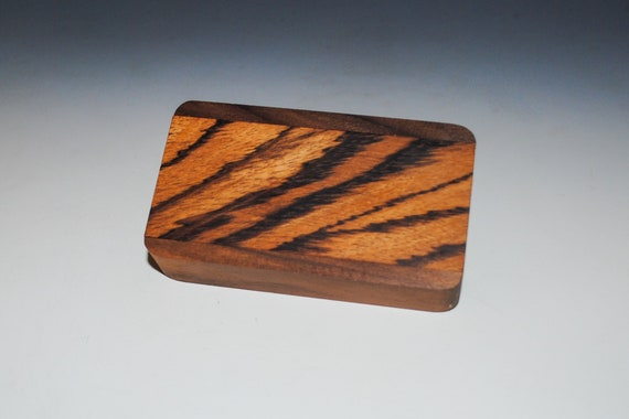 Slide Top Small Wood Box of Walnut With Quartersawn Zebrawood - USA Made by BurlWoodBox With a Food Safe Finish