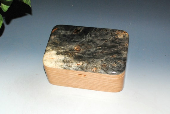 Handmade Wood Box With Tray - Wooden Box of Cherry and Buckeye Burl - Jewelry Box, Desk Box, Small Box, Keepsake Box, Handmade Wooden Box