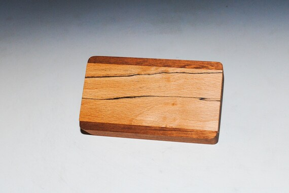 Slide Top Small Wood Box of Mahogany With Spalted Elm - USA Made by BurlWoodBox With a Food Safe Finish