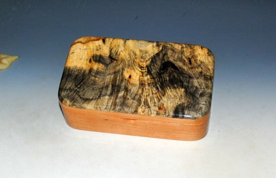 Wooden Treasure Box of Cherry & Buckeye Burl - Handmade Wood Box for Storage of Trinkets, Jewelry or Other Special Items