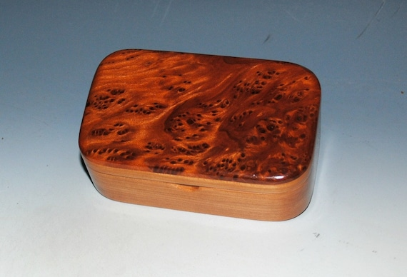 Wooden Trinket Box of Redwood Burl on Cherry by BurlWoodBox - Small Wood Box for Storage of Special Treasures or Keepsakes - Unique Gift !