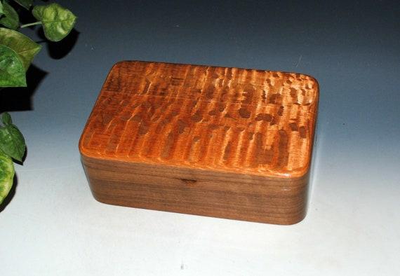 Wooden Stash Box of Lacewood on Walnut - Handmade Wood Box By BurlWoodBox - SALE - Knot Underside of Lid