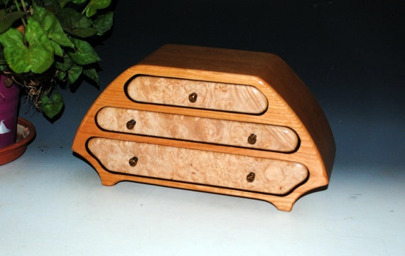 Handmade Wooden Jewelry Box of  Cherry and Maple Burl in Our Katie Style -  Large Wood Jewelry Box With Drawers