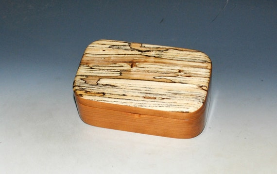 Wooden Trinket Box With Hinged Lid of Spalted Elm on Cherry  - USA Made Small Wood Jewelry Box