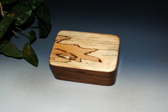 Wood Box of Spalted Elm and Walnut With a Tray - USA Made by BurlWoodBox