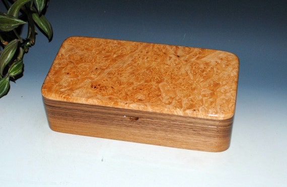 Handmade Box With Tray-Maple Burl on Walnut, Wood Jewelry Box, Treasure Box, Keepsake Box, Wooden Jewelry Box , Handmade Stash Box With Tray