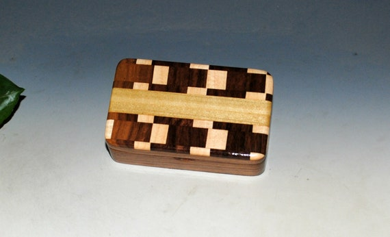 Small Wooden Box of Walnut & Patterned Top -  Handmade by BurlWoodBox -  Very Small Gift Box or to Hold a Special Gift - USB Photo Box