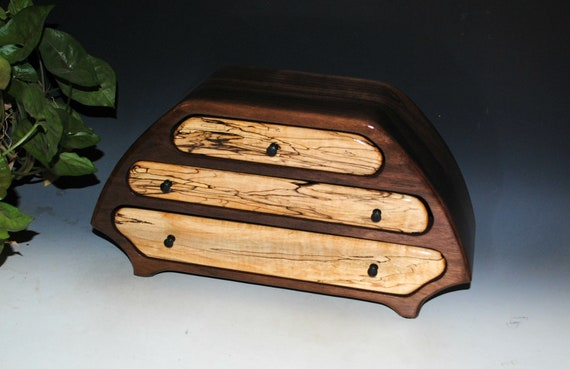 Handmade Wooden Jewelry Box of Walnut and Spalted Maple in Our Katie Style -  Large Wood Jewelry Box With Drawers