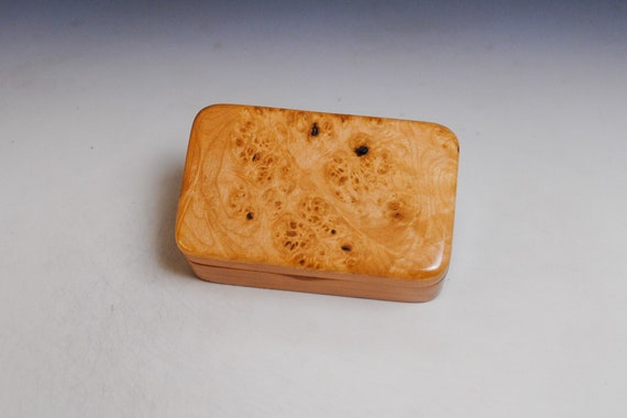 Small Wooden Box of Maple Burl on Cherry - Gift Box, Jewelry Box or Keepsake Box