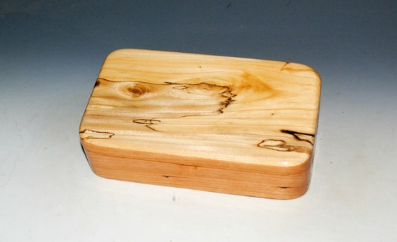 Wooden Box of Spalted Elm on Cherry - Handmade by BurlWoodBox - Small Stash, Treasure or Jewelry Box