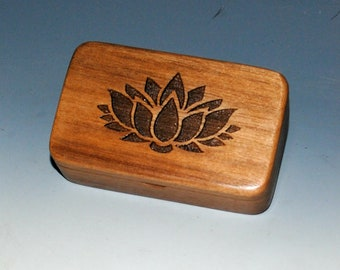 Small Wooden Box With an Engraved Lotus on Walnut - Handmade Symbolic Gift !
