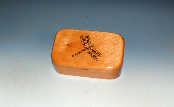 Wooden Trinket Box of Cherry With a Dragonfly  - Handmade in The USA by BurlWoodBox