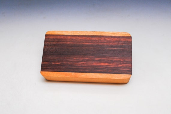 Slide Top Small Wood Box of Cherry With Cobobolo Wood Slide - USA Made by BurlWoodBox With a Food Safe Finish
