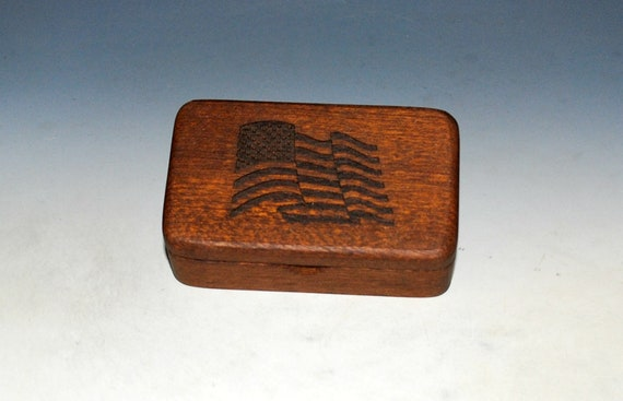 Wood Box With a US Flag on Mahogany - Waving Flag Box With Food Safe Finish - Keepsake Box, Small Stash Box - USA MADE !