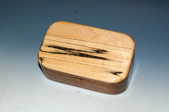 Spalted Maple on Walnut Wooden Trinket Box -Treasure Box Made in the USA by BurlWoodBox