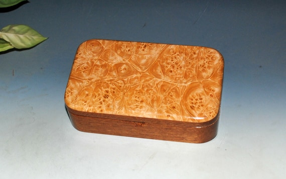 Wooden Box of Mahogany with Maple Burl - Handmade in the USA  by BurlWoodBox - Small Jewelry Box - Treasure Box - Unique Gift