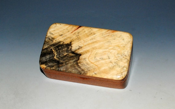 Small Wooden Box of Mahogany & Buckeye Burl With Hinged Lid - Handmade in MI by BurlWoodBox - Cute Little Gift Box !
