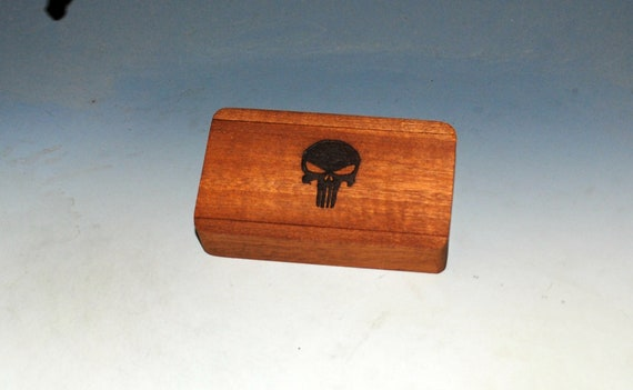 Slide Top Wood Box of Mahogany With a Punisher Engraved Slide Top - Food Safe Finish