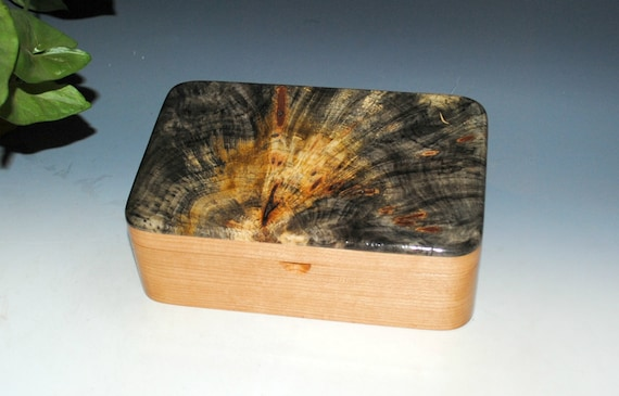 Handmade Wooden Stash Box With Our Custom Hinges in Cherry & Buckeye Burl by BurlWoodBox