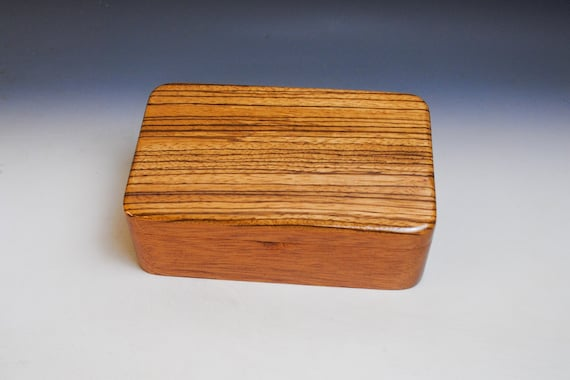 Zebrawood on Mahogany Wooden Stash Box - a Guy Favorite ! Handmade in the USA By BurlWoodBox