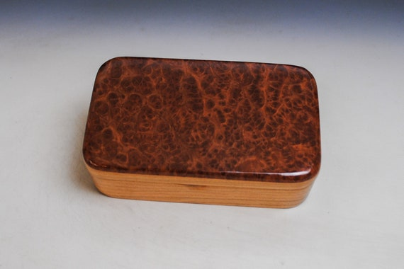 Wooden Treasure Box of Redwood Burl on Cherry - Handmade By BurlWoodbox - Boxes Make Great Gifts!