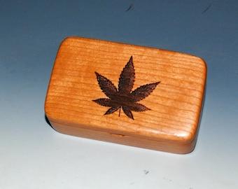 Wooden Box With a Pot Leaf on Cherry - Cannabis Leaf Box, Jewelry Box, Keepsake Box, Small Stash Box - American Made Gift