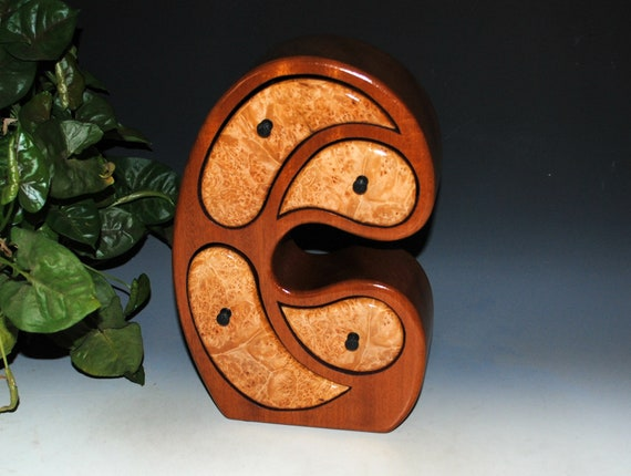 Handmade Wood Jewelry Box in Our Madonna Style of Maple Burl on Mahogany - Art in a Jewelry Box