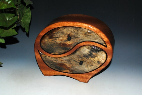 Wooden Jewelry Box in Our Yin Yang Style in Mahogany and Buckeye Burl - Art in a Jewelry Box