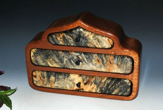 Wooden Jewelry Box - Buckeye Burl on Mahogany Pagoda Style Handmade Wood Jewelry Box by BurlWoodBox - Art Jewelry Box, Small Jewelry Box