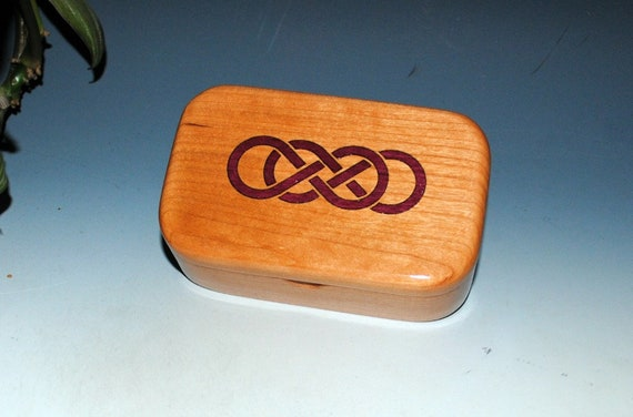 Wooden Trinket Box With Double Infinity of Cherry & Purple Heart - Handmade Wood Box With Lid by BurlWoodBox - Symbolic Gift !