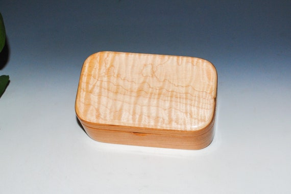 Wooden Trinket Box of Cherry And Curly Maple With Hinged Lid by BurlWoodBox - Boxes Are Great Gifts!