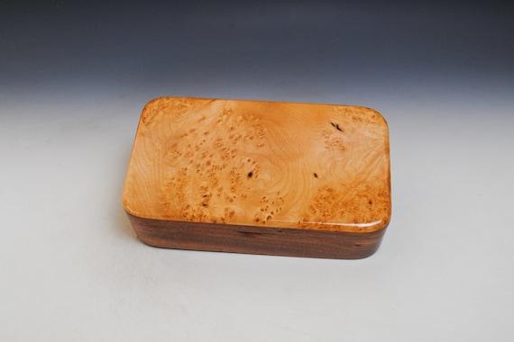Wooden Box Of Maple Burl on Mahogany With Hinged Lid - Handmade Wood Box by BurlWoodBox