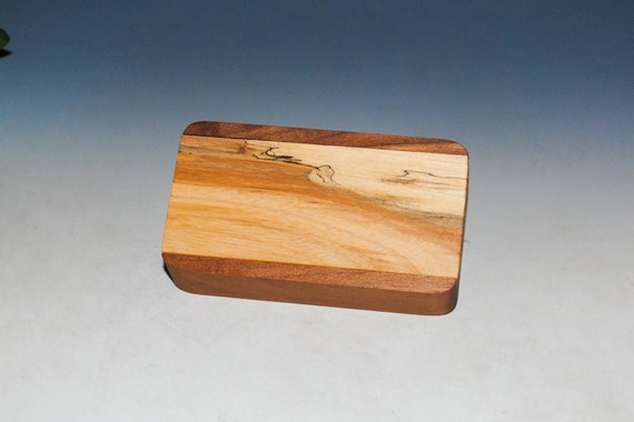 Slide Top Small Wood Box of Walnut With Spalted Elm - USA Made by BurlWoodBox With a Food Safe Finish