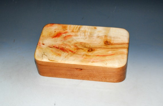 Wooden Box of Cherry with  Spalted Box Elder - Handmade in the USA by BurlWoodBox