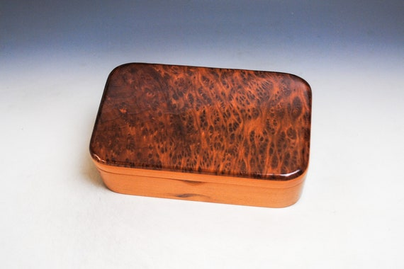 Wood Treasure Box of Cherry with Redwood Burl - Wooden Box With Lid - Handmade Gift !