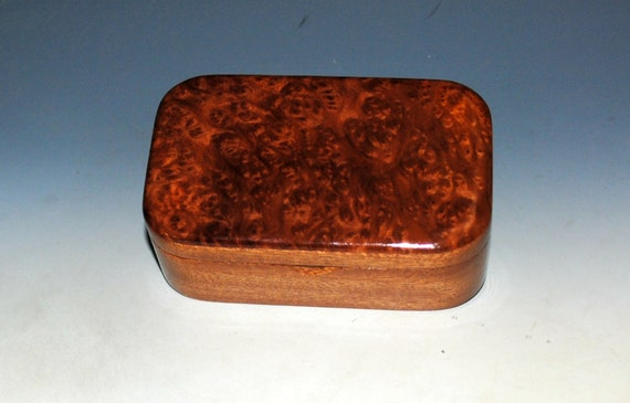 Wooden Trinket Box of Redwood Burl on Mahogany - Handmade Small Wood Box by BurlWoodBox - Unique Gift !