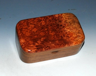 Redwood Burl on Walnut Handmade Wooden Box-Trinket Box, Wood Box, Jewelry Box, Keepsake Box, Small Wooden Box, Stash Box, Treasure Box, Box