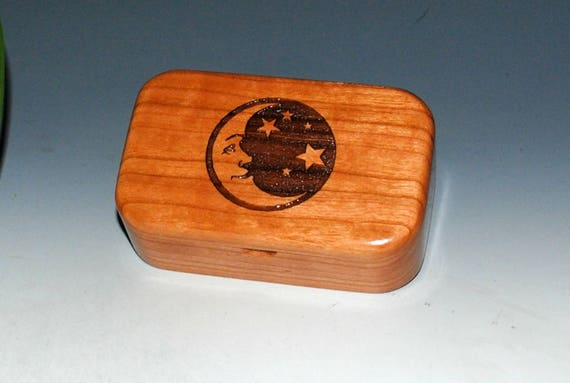 Wood Box of Cherry With Engraved Crescent Moon & Stars Cherry - Handmade Wooden Box With Lid By BurlWoodBox - Celestial Gift !
