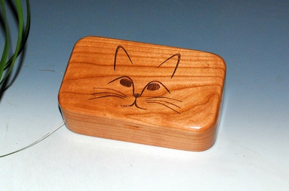 Wooden Box With Engraved Cat Face of Cherry - Handmade Treasure Box by BurlWoodBox
