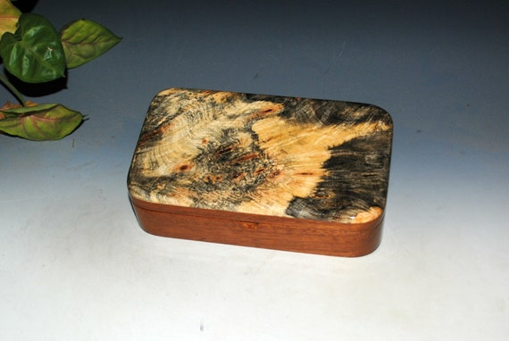 Wooden Box of Buckeye Burl on Mahogany - Handmade Small Stash Box With Hinged Lid by BurlWoodBox - USA Made Gift !