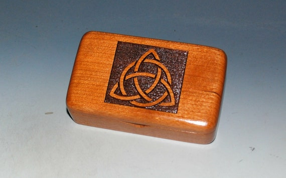 Small Wooden Box With Triquetra Engraved on Cherry - Handmade by BurlWoodBox  Perfect as a Gift or to Hold That Special Small Gift